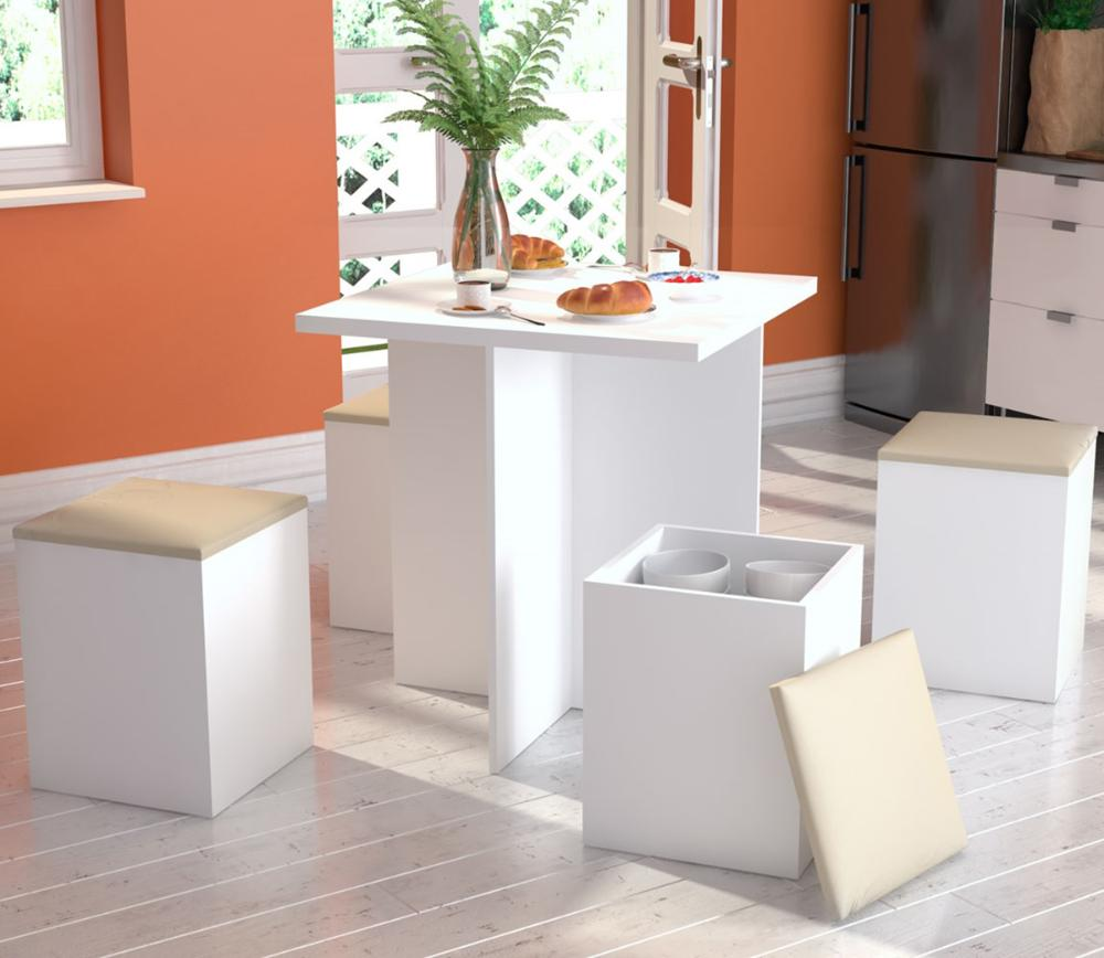 Conjunto Para Sala De Jantar Mesa e 4 Banquetas  - Branco/Bege - Appunto