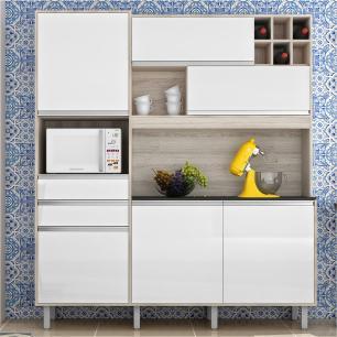 Cozinha Compacta Loft Nesher - Branco Amadeirado - Nesher