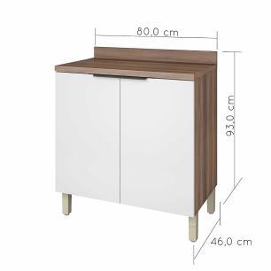 Balcão de Cozinha Donna 2 Portas 80 cm - Nogal/Branco - Nesher
