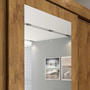Roupeiro Luiza 3 Portas Slide - 100% MDF - Com Espelho - Canela - Panan