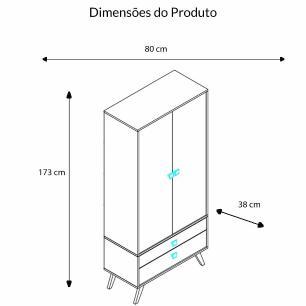 Cristaleira 2 Portas Com 2 Gavetas - Rustico - Movelbento