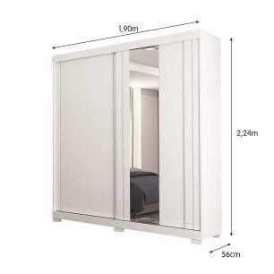 Roupeiro Carmen Com Espelho 2 Portas 100% MDF - Branco - Docelar