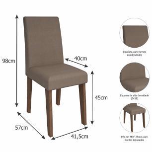 Sala Jantar Andreia 100cm x 100cm Com 4 Cadeiras Milena Savana/Pluma - Cimol