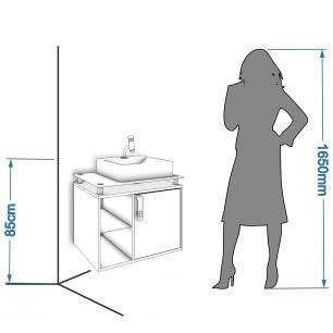 Gabinete De Banheiro 100% Mdf Porto 60 Cm Sobrepor Amendoa/Off White - Mgm