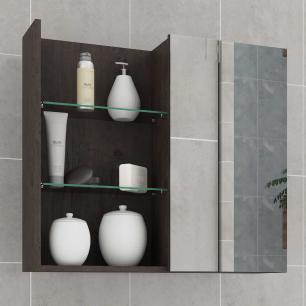 Espelheira para Banheiro 100% MDF Jasmin 60 Cm Café - Mgm