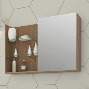 Espelheira para Banheiro 100% MDF Jasmin 80 Cm Amendoa - Mgm