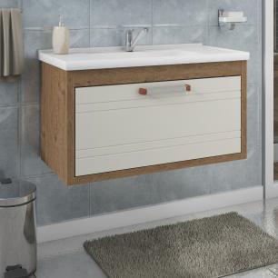 Gabinete De Banheiro 100% Mdf Jade 79 Cm Porta Frizada Amendoa/Off White - Mgm