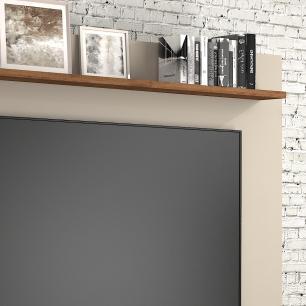 Estante Home 4 Portas Painel para TV até 55 Polegadas com Espelho Munique Off White/Savana - Permobili