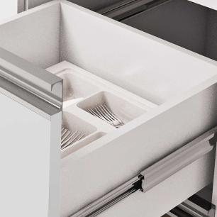 Balcao De Cozinha 100% Mdf Prisma Para Pia 154 Cm Amendoa/Branco - Mgm