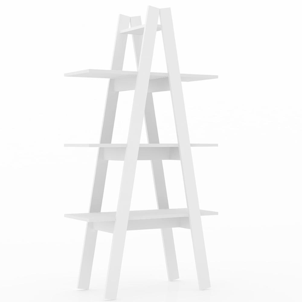 Estante Escada 3 Prateleiras - Branco - Movelbento