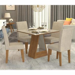 Sala Jantar Alana 95cm x 95cm Com 4 Cadeiras Milena Savana/Off White/Sued Bege - Cimol