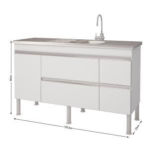 Balcao De Cozinha 100% Mdf Prisma Para Pia 154 cm - Branco/Preto - Mgm
