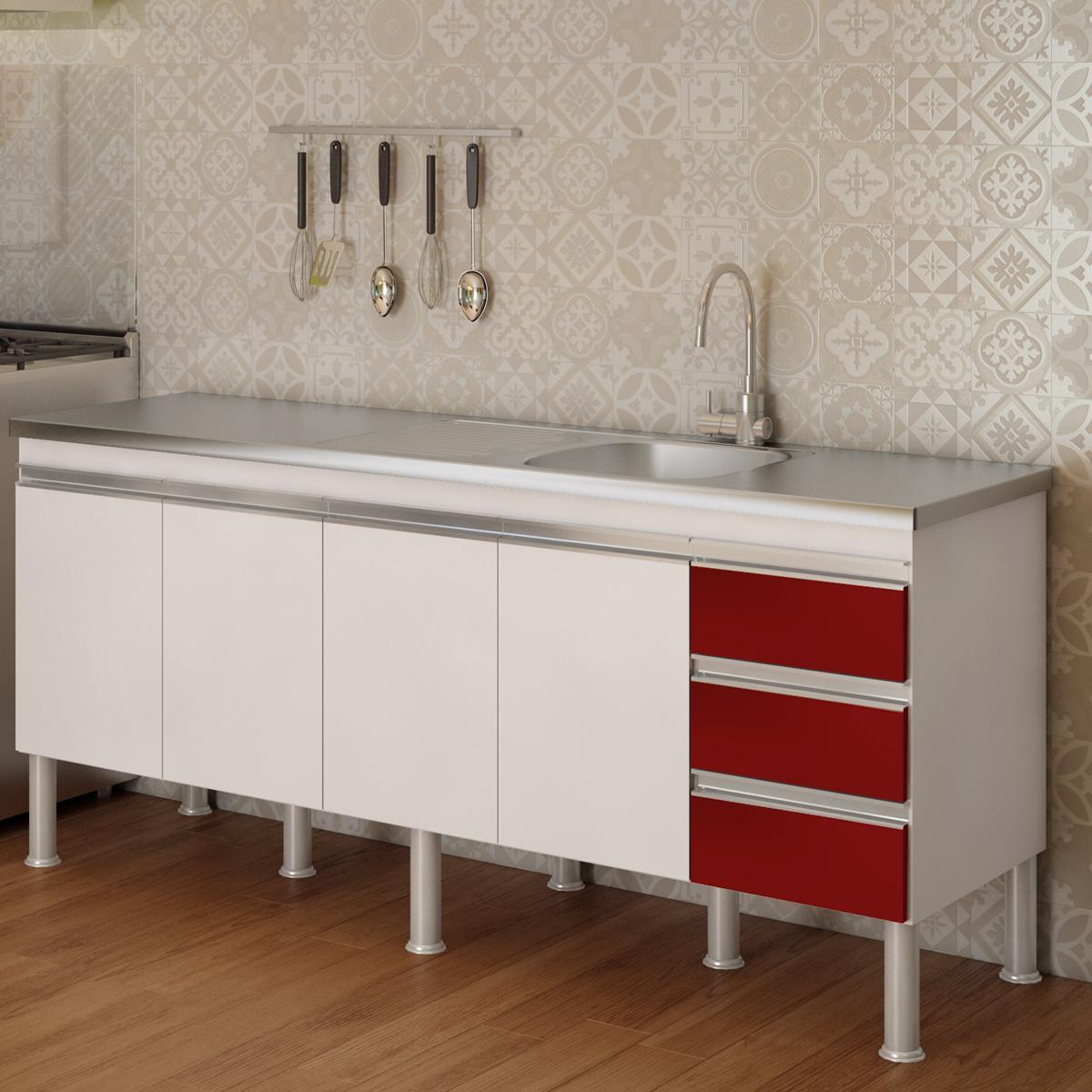 Balcão de cozinha Ibiza Para Pia 180 cm - Branco/Vermelho - Mgm