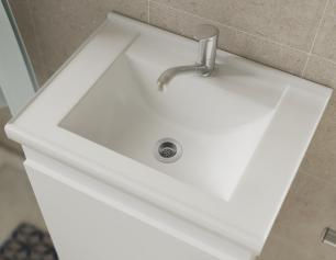 Gabinete De Banheiro 100% Mdf Iris 44 Cm Com Espelho Amendoa/Branco - Mgm
