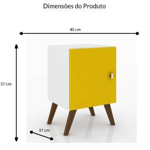 Cubo Retro Com Porta - Branco/Amarelo - Movelbento