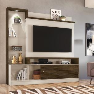 Estante Home Theater Frizz Prime - Off White/Savana - Madetec