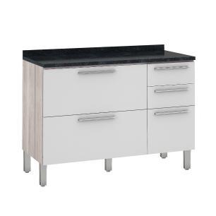 Balcão de cozinha Class 2 Portas 3 Gavetas 120 cm - Branco/Amadeirado - Nesher