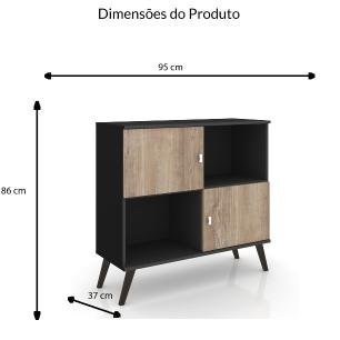Aparador Retro 2 Portas - Preto/Rustico - Movelbento