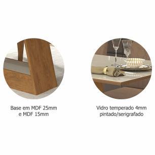 Sala Jantar Alana 180 Cm x 90 Cm Com 6 Cadeiras Milena Savana/Off White/Pluma - Cimol