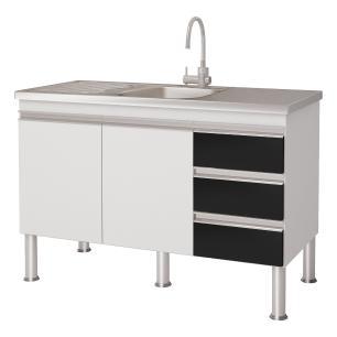 Balcao De Cozinha 100% Mdf Ibiza Para Pia 114 cm - Branco/Preto - Mgm