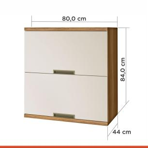 Armario de Cozinha Duquesa 2 Portas Basculante 80 cm - Freijo/Off White - Nesher