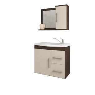 Gabinete De Banheiro 100% Mdf Vix 65 Cm Com Espelho Cafe/Off White - Mgm