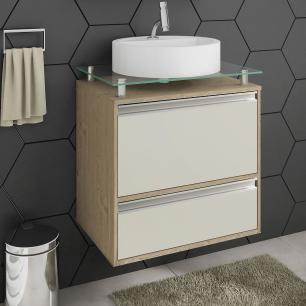 Gabinete De Banheiro 100% Mdf Aveiro 60 Cm Sobrepor Carvalho/Off White - Mgm