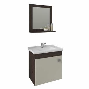 Gabinete De Banheiro 100% Mdf Iris 44 Cm Com Espelho Cafe/Off White - Mgm