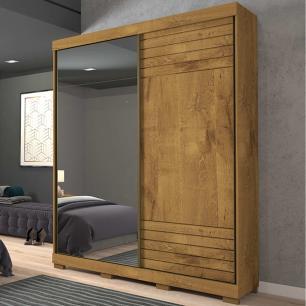 Roupeiro Bia 2 Portas Slide - 100% MDF - Com Espelho - Canela - Panan