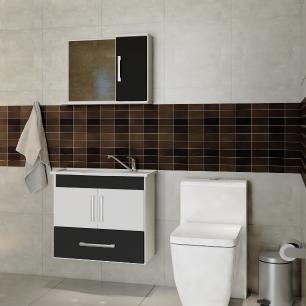 Gabinete De Banheiro 100% Mdf Atenas 65 cm Com Espelho - Branco/Preto - Mgm