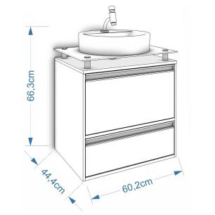 Gabinete De Banheiro 100% Mdf Aveiro 60 Cm Sobrepor Amendoa/Branco - Mgm