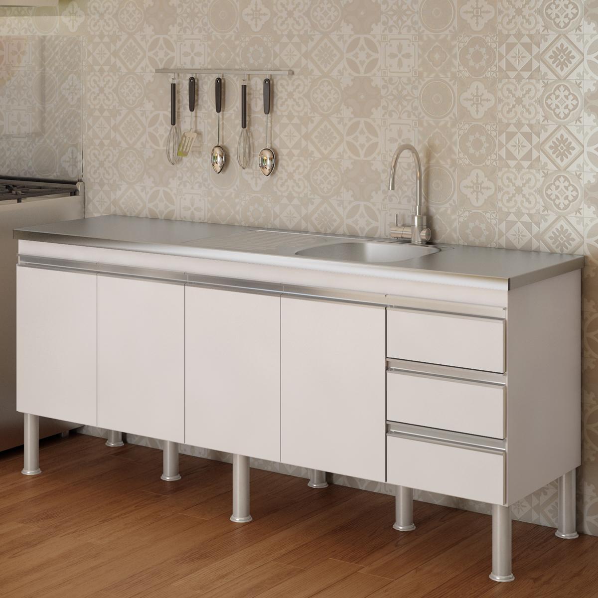 Balcao De Cozinha 100% Mdf Ibiza Para Pia 194 cm - Branco - Mgm