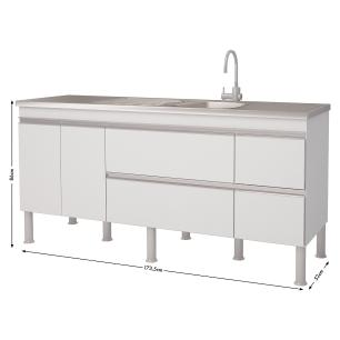 Balcao De Cozinha 100% Mdf Prisma Para Pia 174 cm - Branco - Mgm