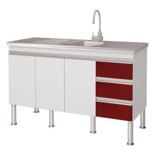 Balcão de cozinha Ibiza Para Pia 140 cm - Branco/Vermelho - Mgm