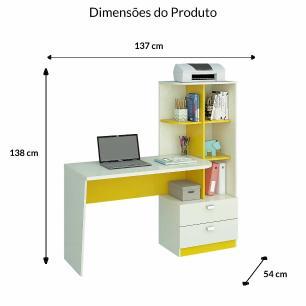 Escrivaninha/Mesa para Computador Com Estante Elisa Branco/Amarelo - Permobili