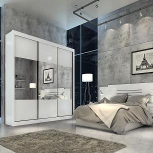 Roupeiro Prada Plus 3 Portas Slide - 100% MDF - Com Espelho - Branco - Panan