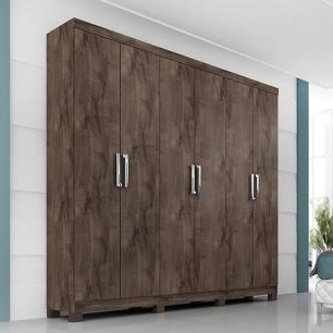 Roupeiro Uni Premium 6 Portas - 100% MDF - Cafe - Panan