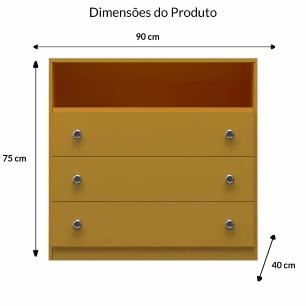 Cômoda Baixa 3 Gavetas E 1 Nicho - Amarelo - Primolar