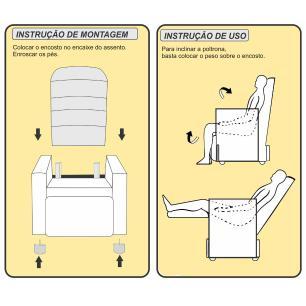 Poltrona Reclinável Paloma - Tecido Poliester Bege 10062 - Delare