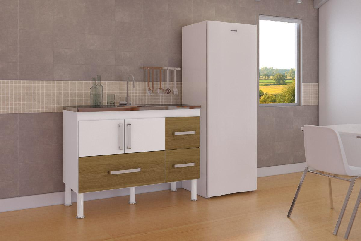 Balcão de cozinha Bari Para Pia 120 cm - Branco/Nogueira - Mgm
