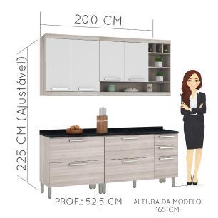 Cozinha completa Nesher Gold 9 - Branco/Amadeirado - Nesher