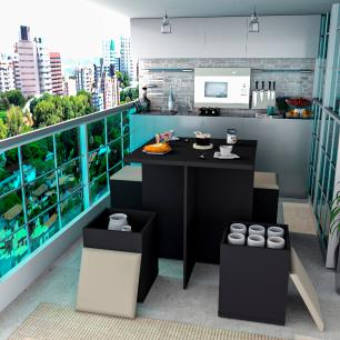 Conjunto Para Sala De Jantar Mesa e 4 Banquetas - Preto/Bege - Appunto