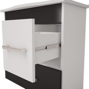 Gabinete De Banheiro 100% Mdf Fortaleza 65 cm Com Espelho - Branco/Preto - Mgm