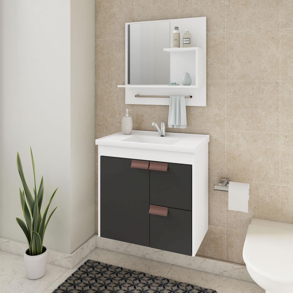 Gabinete De Banheiro 100% Mdf Tulipa 59 Cm Com Espelho Branco/Preto - Mgm