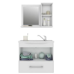 Gabinete De Banheiro 100% Mdf Atenas 65 cm Com Espelho - Branco - Mgm