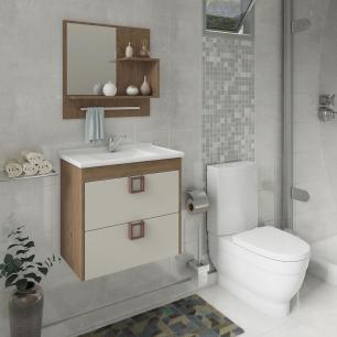 Gabinete De Banheiro 100% Mdf Lirio 59 Cm Com Espelho Amendoa/Off White - Mgm