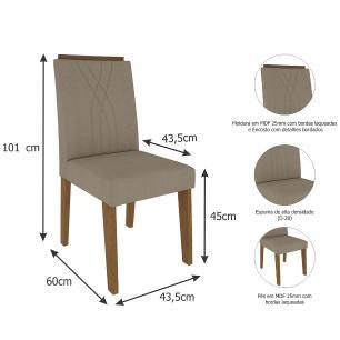 Sala Jantar Agata 180 Cm x 90 Cm Com 6 Cadeiras Nicole Savana/Off White/Caramelo - Cimol