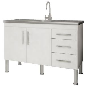 Balcao De Cozinha 100% Mdf Flex Para Pia 114 cm -  Branco - Mgm