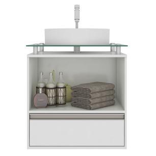 Gabinete De Banheiro 100% Mdf Aveiro 60 Cm Sobrepor Cafe/Off White - Mgm