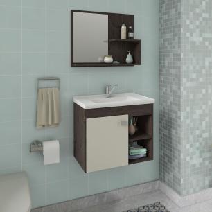 Gabinete De Banheiro 100% Mdf Lotus 55 Cm Com Espelho Cafe/Off White - Mgm